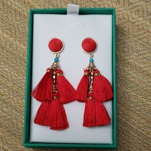 NWOT Red Thread Chandelier Earrings